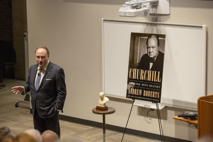 Photo of historian Andrew Roberts speaking about his book