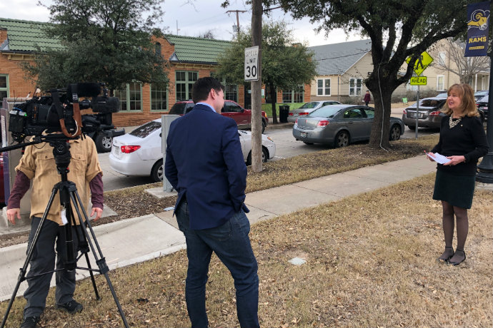 Photo of Dr. Linda Metcalf speaking with WFAA about a Tarrant County arrest involving Munchausen Syndrome by Proxy