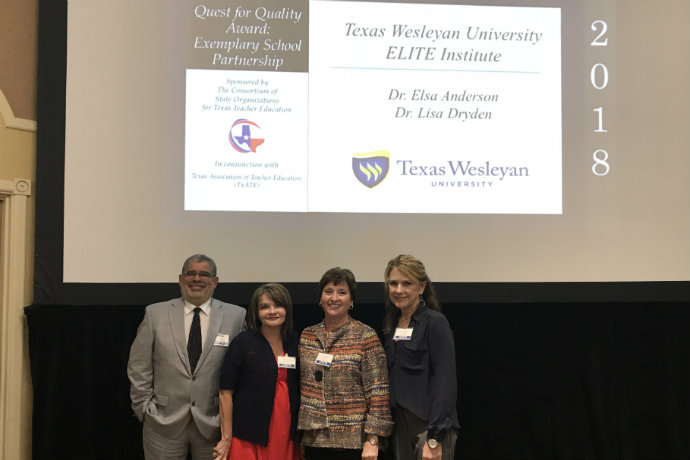 Photo of Dean Carlos Martinez, Lisa Dryden, Elsa Anderson and Alice Puente during the Quest for Quality Award presentation.