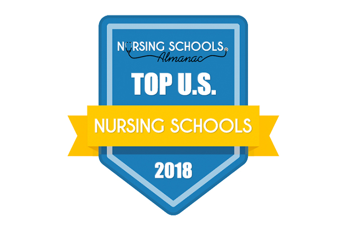 Badge representing Nursing School Almanac's top nursing schools of 2018