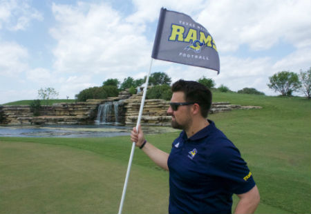 Photo of Texas Wesleyan football coach at the football golf tournament