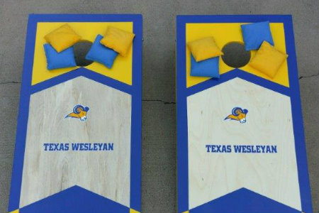 This is a picture of the Cornhole boards for the Cornhole Tournament which is an event during Alumni Reunion Weekend.