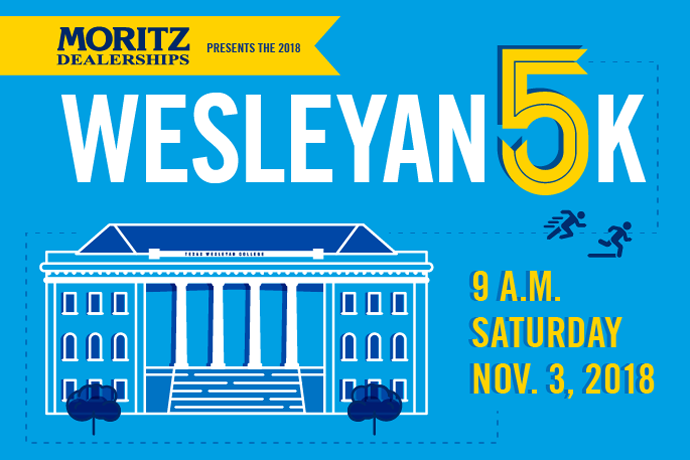 A blue illustration for the Wesleyan 5k showing a drawing of the administration building and the sponsor – Moritz Dealerships