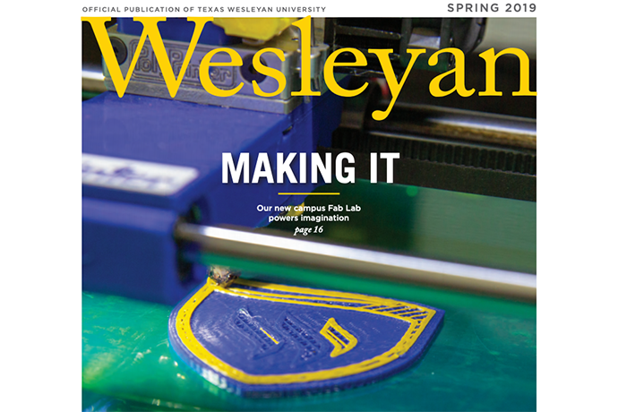 Photo of the cover of the Spring 2019 issue of Wesleyan magazine.