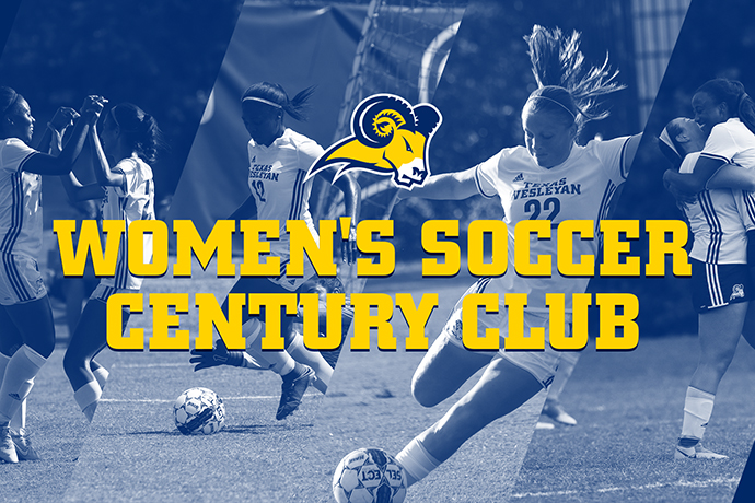 A graphic of selected Lady Ram Soccer players with the words 'Women's Soccer Century Club' displayed in the foreground