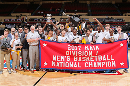 The Men's Basketball team after winning the 2017 NAIA Division I National Championship!