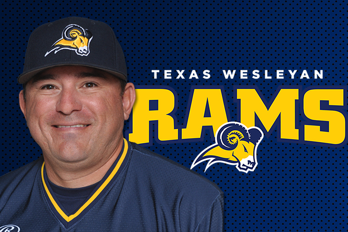 Bobby Garza's bust is displayed along with the Texas Wesleyan Rams logo