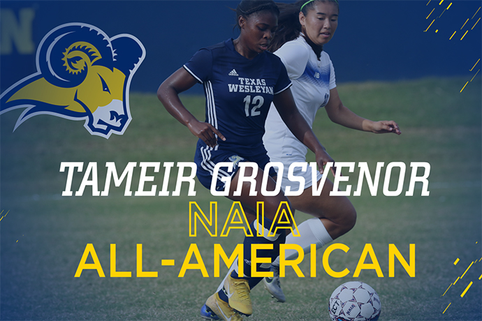 An action photo of 2018 NAIA Women's Soccer All-American Tameir Grosvenor