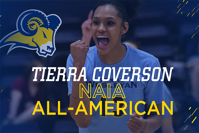 An action photo of 2018 NAIA Volleyball All-American Tierra Coverson