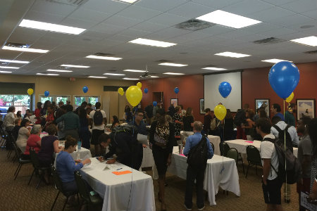 Students look for on-campus jobs during Texas Wesleyan's on-campus student employment fair.