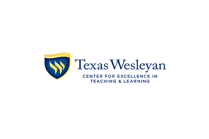 Texas Wesleyan Center for Excellence in Teaching and Learning graphic with shield for light background
