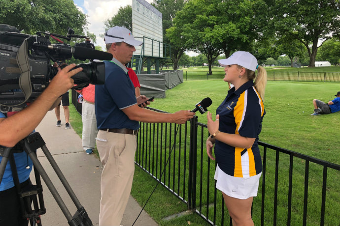 Jacey Patton, recipient of the Ben Hogan Foundation Mentor Scholarship, talks about graduation from Texas Wesleyan University on NBC's The Golf Channel, filmed during the 2018 Fort Worth Invitational Golf Tournament at Colonial Country Club.