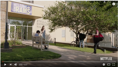 "Look familiar? This Netflix commericial, ""Movie Night"" by Juddy Talt, was filmed in Stella Russell Hall."