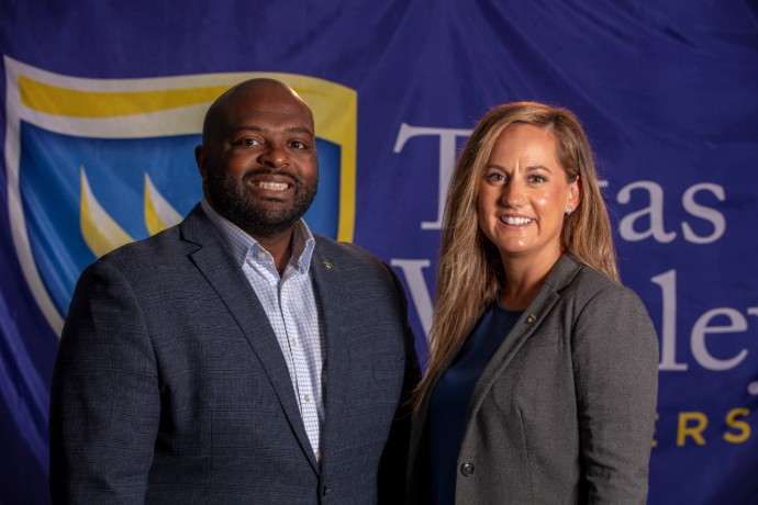 Photo of TXWES/FWISD Leadership Academy Network leadership members Chris Shropshire and Whitney Clark.