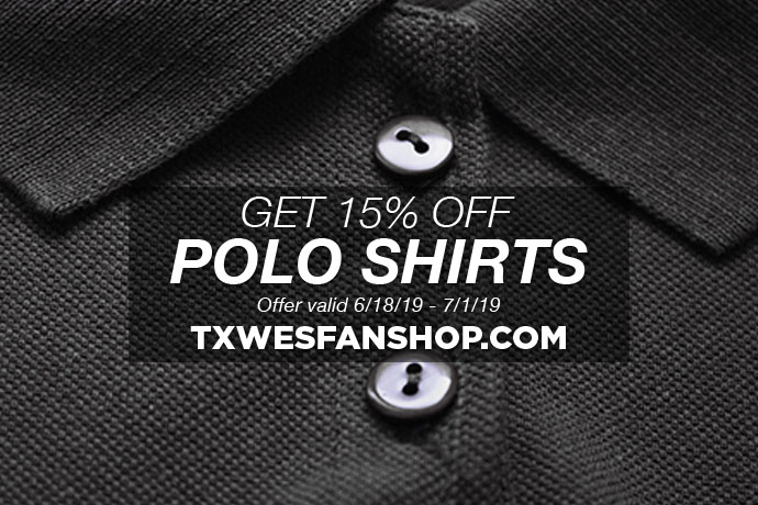 Photo showing a 15% off sale for polo shirts at txwesfanshop.com from June 18 - July 1, 2019.