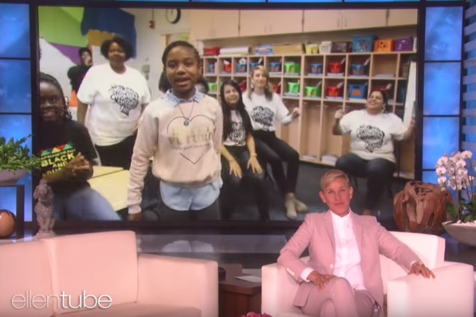 Photo of a student from Como Elementary school featured on The Ellen DeGeneres Show. Como is one of the schools involved in a new partnership between  TXWES and Fort Worth ISD.