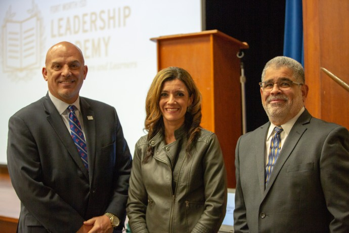 Photo of Fort Worth ISD Superintendent Kent Scribner, Leadership Academy Network Senior Officer Priscila Dilley and TXWES School of Education Dean Carlos Martinez