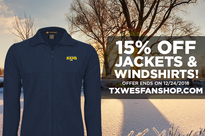 Image advertising 15% discount at Texas Wesleyan fan shop.