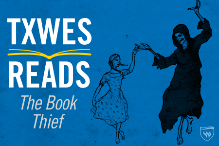 Book thief logo girl dancing with death