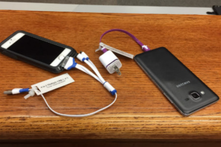 Image of the West Library's cell phone chargers