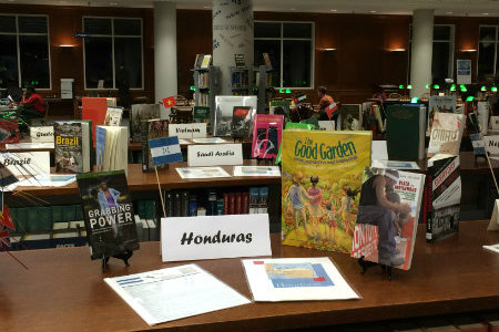 Image of international week display at Texas Wesleyan's West Library