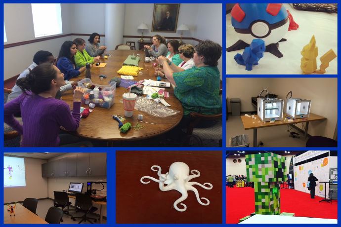 Collage of Maker space images 3D Printers, library making event, and 3d printed example items