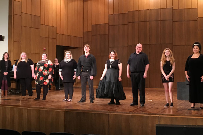 The cast and collaborative pianist of Opera Tonight! OPERATXWES' Fall 2018 performance on stage