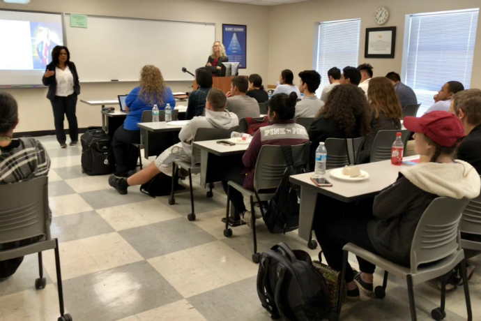 The FBI visits the School of Business during an Accounting Society meeting this Fall.