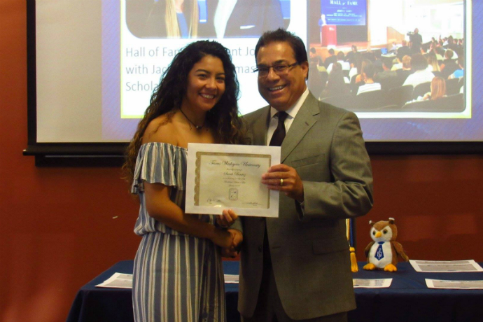 School of Business student receives award during the Spring 2018 Dean's List ceremony.