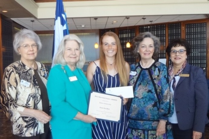DAR-MIK provided a book scholarship to History Major, Emily Hunt in May 2019.  DAR officers, Emily Hunt, and Brenda Matthews are pictured.