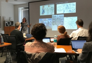 Participants of the Medieval Manuscript Workshop listening to the speaker.