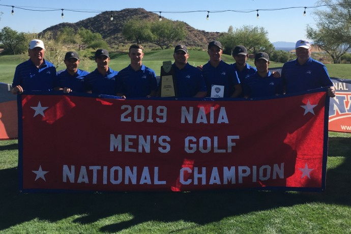 Photo of the 2019 NAIA national champion TXWES men's golf team.
