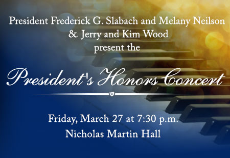 Texas Wesleyan University's highest-achieving music students will share their vocal and instrumental talents during the President's Honors Concert at 7:30 p.m. on Friday, March 27 in Martin Hall.