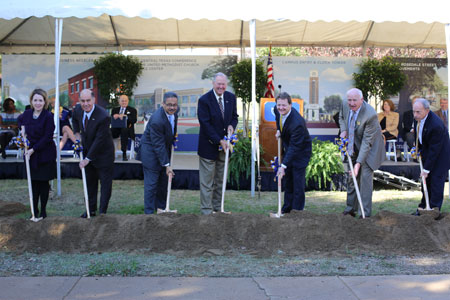 Fred Slabach helps break ground on the future of Texas Wesleyan.