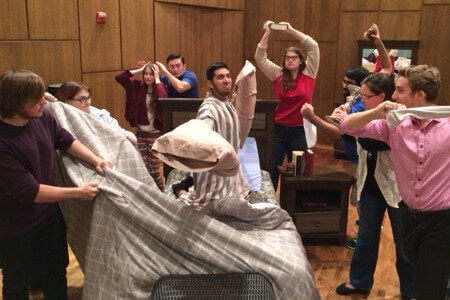 Pillow fight at 2015 Opera Workshop