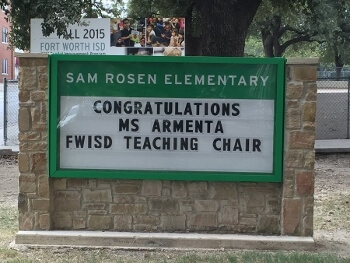 Congratulations to Cristina Armenta for being selected as the FWISD Teaching Chair