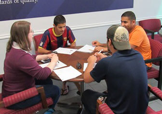 Domestic and international students practice conversation as part of the English Practice Partner Program at Texas Wesleyan.