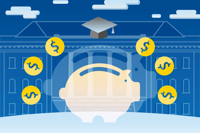 Graphic of a white piggy bank with yellow coins around it on top of a blue background