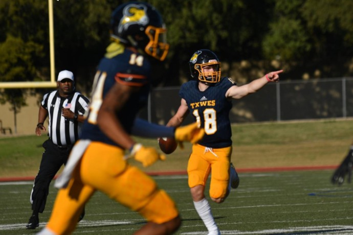 Photo of in-game action during TXWES football game vs. Wayland Baptist on Nov. 9, 2019