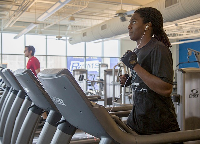 Resized photo of student on treadmill at Morton Fitness Center